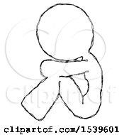Sketch Design Mascot Woman Sitting With Head Down Facing Sideways Left