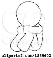 Sketch Design Mascot Man Sitting With Head Down Facing Angle Left