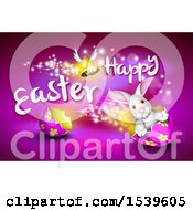 Clipart Of A Winged Bell And Happy Easter Text Over A Bunny Rabbit Driving An Egg Shell On Purple Royalty Free Vector Illustration