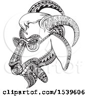 Clipart Of A Goat Smoking A Cigar And Wearing Shades In Black And White Tribal Tattoo Style Royalty Free Vector Illustration