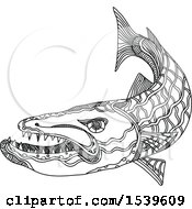 Clipart Of A Barracuda Fish In Black And White Zentangle Style Royalty Free Vector Illustration