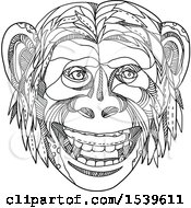 Clipart Of A Umanzee Apeman Caveman Or Neanderthal Face In Black And White Zentangle Style Royalty Free Vector Illustration