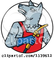 Clipart Of A Wild Dog Welder In A Circle Royalty Free Vector Illustration