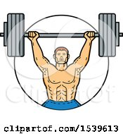 Strong Male Bodybuilder Holding A Barbell Over His Head In A Circle