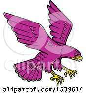 Clipart Of A Purple Peregrine Falcon Swooping Royalty Free Vector Illustration