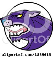 Clipart Of A Roaring Purple Panther Big Cat In A Circle Royalty Free Vector Illustration