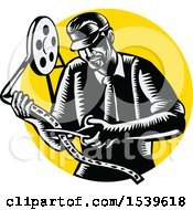 Retro Woodcut Movie Director Cutting A Film Reel Over A Yellow Circle