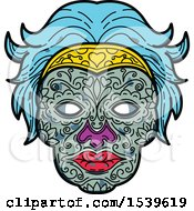 Clipart Of A Female Sugar Skull With Blue Hair Royalty Free Vector Illustration by patrimonio