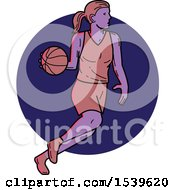 Poster, Art Print Of Female Basketball Player Dribbling Over A Circle In Monoline Style