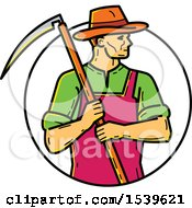 Farmer Holding A Scythe In A Circle In Monoline Style