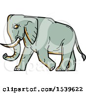 Clipart Of A Walking African Elephant In Profile Royalty Free Vector Illustration