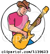 Cowboy Musician Playing A Guitar In A Circle