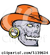 Clipart Of A Skull Wearing A Cowboy Hat And Earring Royalty Free Vector Illustration by patrimonio