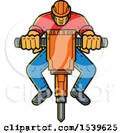 Clipart Of A Construction Worker Operating A Jackhammer In Monoline Style Royalty Free Vector Illustration