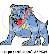 Clipart Of A Blue Sheriff Bulldog Wearing A Bandana And Badge Royalty Free Vector Illustration