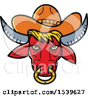 Clipart Of A Red Texas Longhorn Bull With A Nose Ring And Cowboy Hat In Monoline Style Royalty Free Vector Illustration