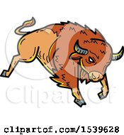 Clipart Of A Bison Bucking In Mono Line Style Royalty Free Vector Illustration by patrimonio