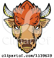 Clipart Of A Bison Head In Mono Line Style Royalty Free Vector Illustration by patrimonio
