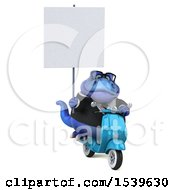 3d Blue Business T Rex Dinosaur Riding A Scooter On A White Background