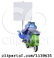3d Blue T Rex Dinosaur Riding A Scooter On A White Background