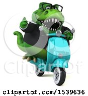 3d Green Business T Rex Dinosaur Riding A Scooter On A White Background