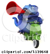 Clipart Of A 3d Blue T Rex Dinosaur Riding A Scooter On A White Background Royalty Free Illustration