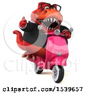 Clipart Of A 3d Red Business T Rex Dinosaur Riding A Scooter On A White Background Royalty Free Illustration