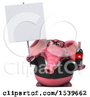 3d Pink Business Elephant Holding Wine On A White Background