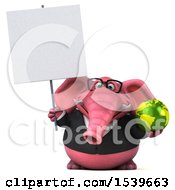 3d Pink Business Elephant Holding A Globe On A White Background