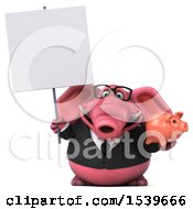 3d Pink Business Elephant Holding A Piggy Bank On A White Background