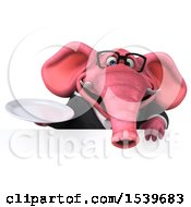 3d Pink Business Elephant Holding A Plate On A White Background
