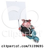 Clipart Of A 3d Chubby Business Pig Riding A Scooter On A White Background Royalty Free Illustration