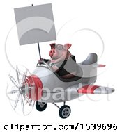 3d Chubby Business Pig Flying A Plane On A White Background