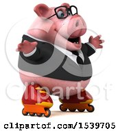 Clipart Of A 3d Chubby Business Pig Roller Blading On A White Background Royalty Free Illustration