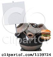 3d Business Elephant Holding A Burger On A White Background
