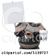 3d Business Elephant Holding A Tooth On A White Background
