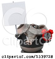 3d Business Elephant Holding An Alarm Clock On A White Background