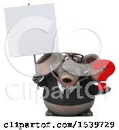 3d Business Elephant Holding A Question Mark On A White Background
