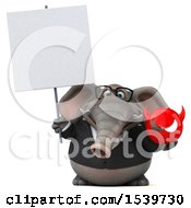 3d Business Elephant Holding A Devil On A White Background