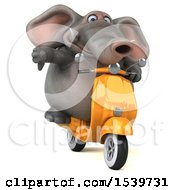 Clipart Of A 3d Elephant Riding A Scooter On A White Background Royalty Free Illustration