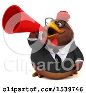Clipart Of A 3d Chubby Brown Business Chicken Using A Megaphone On A White Background Royalty Free Illustration