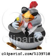 Clipart Of A 3d Chubby White Business Chicken Drinking A Beverage On A White Background Royalty Free Illustration