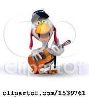 Clipart Of A 3d White Police Chicken Playing A Guitar With A White Background Royalty Free Illustration