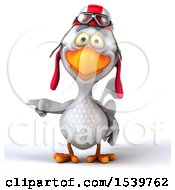 Clipart Of A 3d White Chicken Pilot On A White Background Royalty Free Illustration