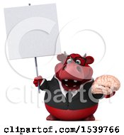 3d Red Business Bull Holding A Brain On A White Background