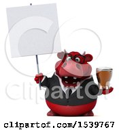3d Red Business Bull Holding A Beer On A White Background