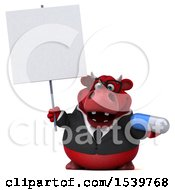 3d Red Business Bull Holding A Pill On A White Background
