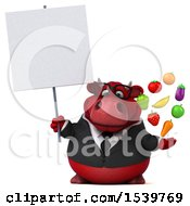 3d Red Business Bull Holding Produce On A White Background
