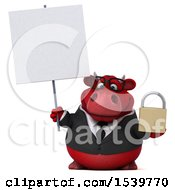 3d Red Business Bull Holding A Padlock On A White Background