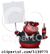 3d Red Business Bull Holding Wine On A White Background